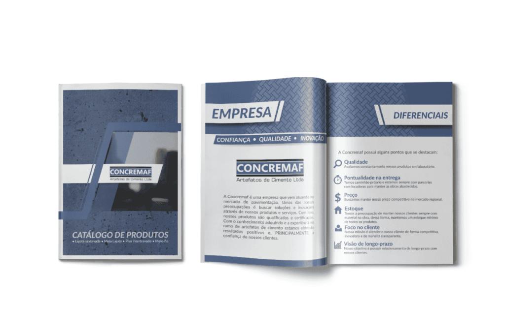design gráfico de catálogo para concremaf