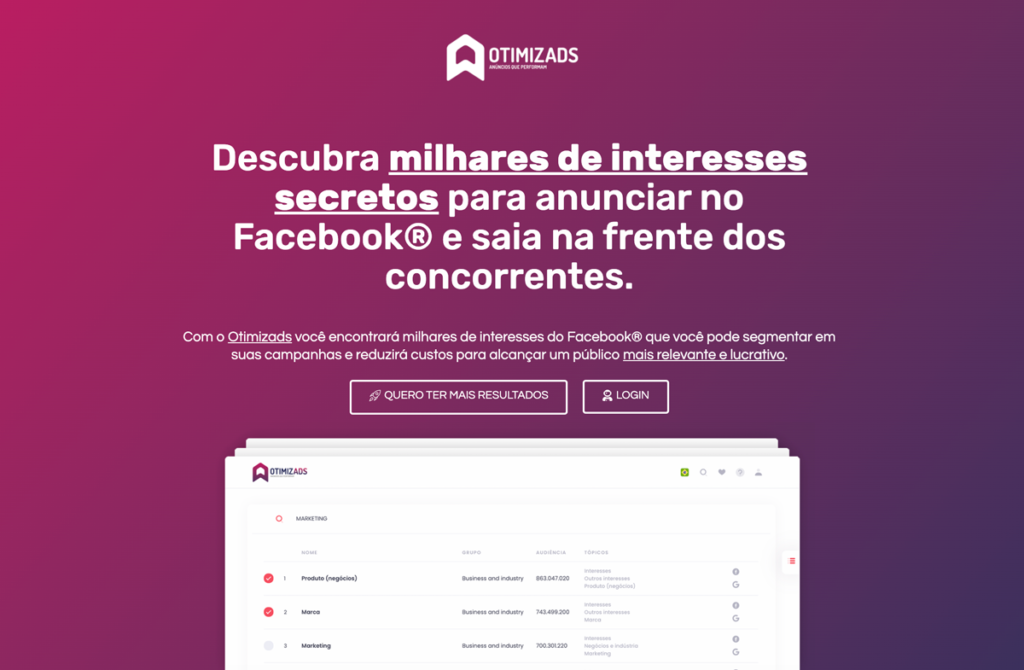 otimizads interesses secretos facebook